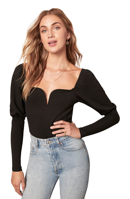 black V-wire neckline ponte knit bodysuit with long puff shoulder sleeves and thong back.