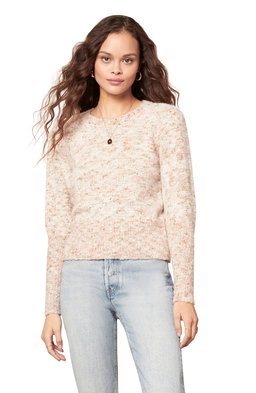 speckled knit long sleeve sweater with full sleeves a ribbing details.