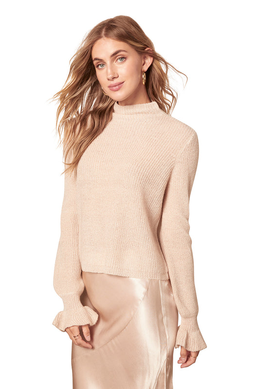 champagne colored soft and flowy lurex knit mockneck sweater with a gathered sleeve cuffs.