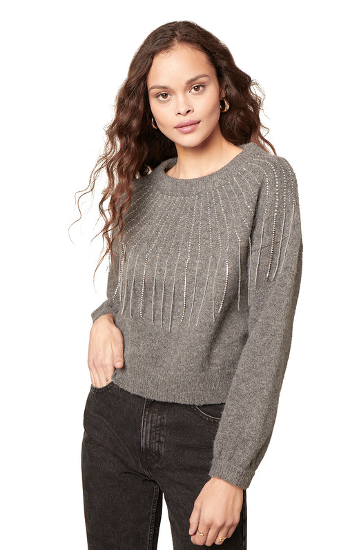 heather grey drop shoulder sweater with a thick ribbed neckline and jewel fringe trimmed detail.