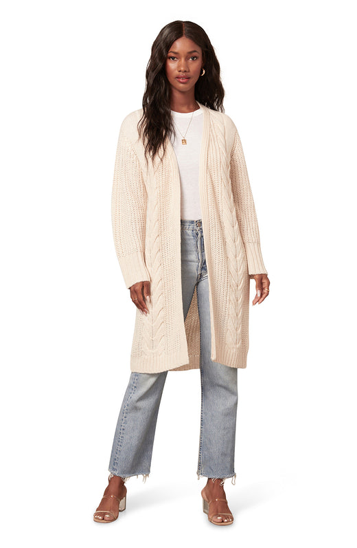oatmeal ivory colored chunky longline cable knit cardigan with a draped open front silhouette.