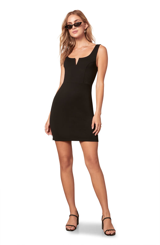 black thick tank top strapped sleeveless knit bodycon mini dress with a V-wire neckline.