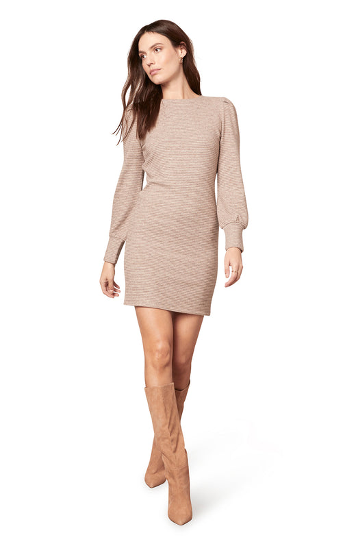 ribbed ottoman knit mini dress with long puff sleeves.