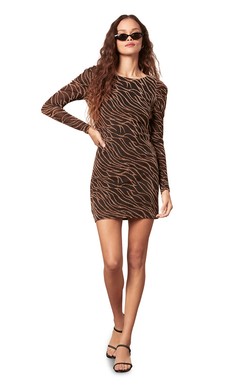 black dress with sequin abstract zebra stripes - abstract zebra patterned lurex knit mesh mini dress with long puff sleeves.