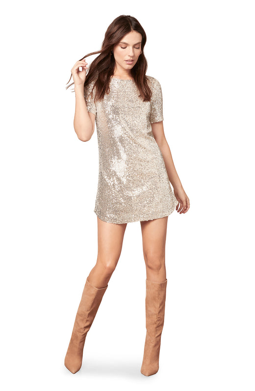 silver short sleeve sequin knit shift dress in a mini length silhouette.