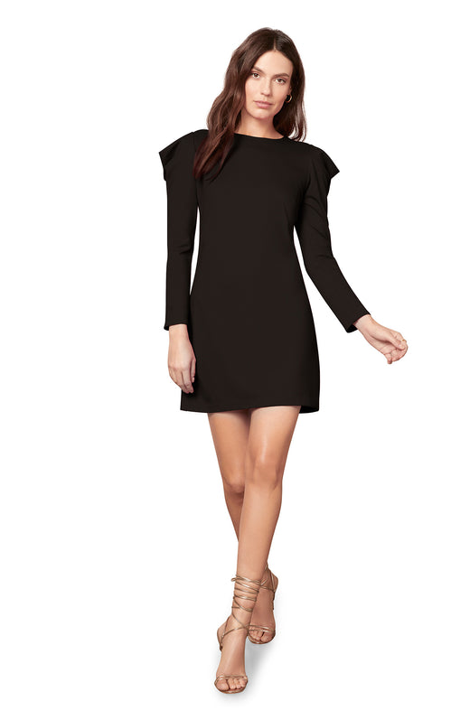 long sleeve ponte knit mini dress with dramatic puffed shoulders.