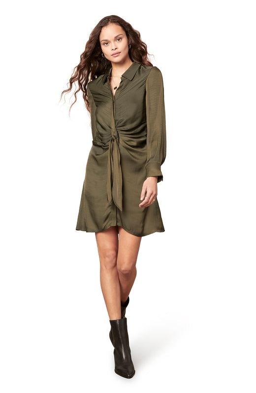 dark green long sleeve dull satin shirt dress with a ruched tie waist detail.