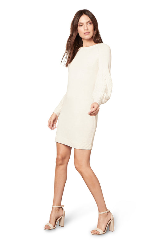 cream ivory colored  long sleeve mini sweater dress with cable knit balloon sleeves.