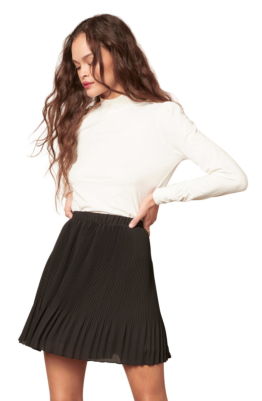 black pleated mini skirt with an elastic waist.