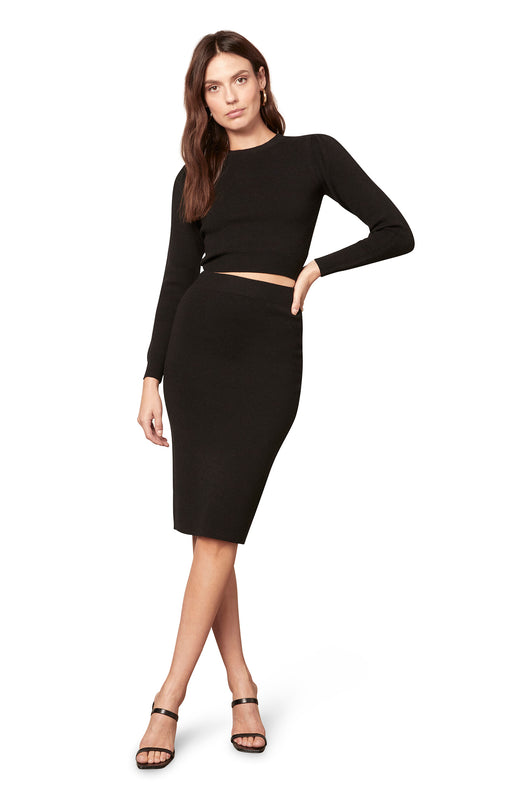 black knee length sweater knit pencil skirt with a pull on waist.