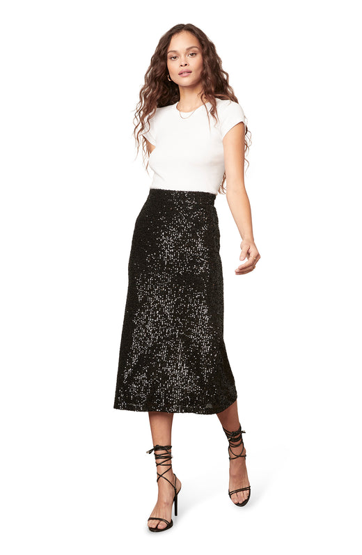 black colored sequin midi skirt with a hidden zip closure.