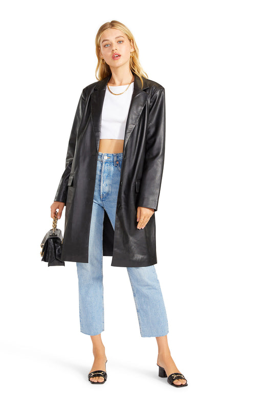 button front vegan leather coat in an oversized blazer silhouette with flap pockets.