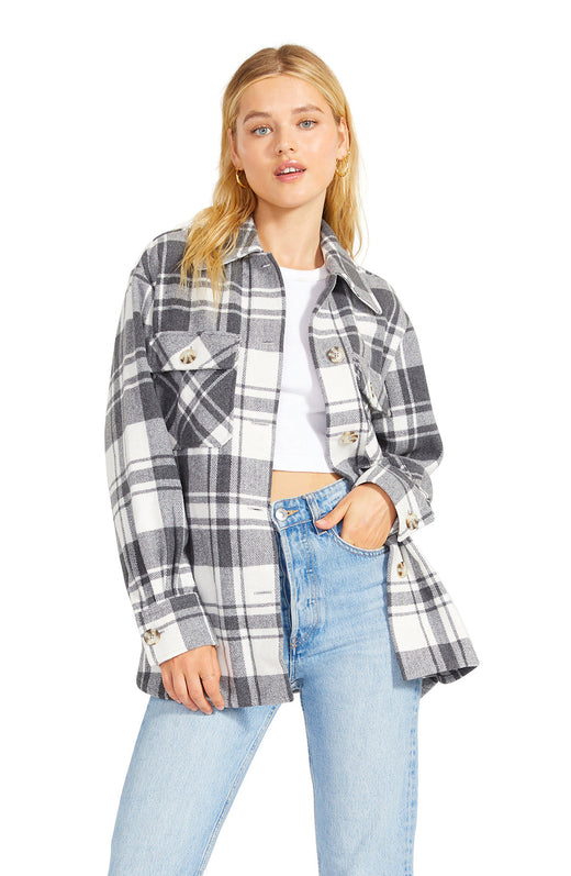 black and white plaid button front shirt jacket with buttoned chest pockets