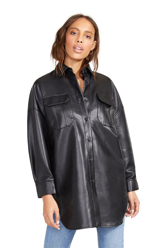 Vegan leather button front shirt jacket in an oversized silhouette