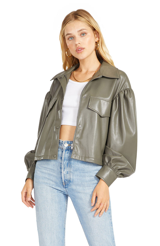 snap front vegan leather shirt jacket with a boxy, cropped silhouette, dropped shoulders and full sleeves.