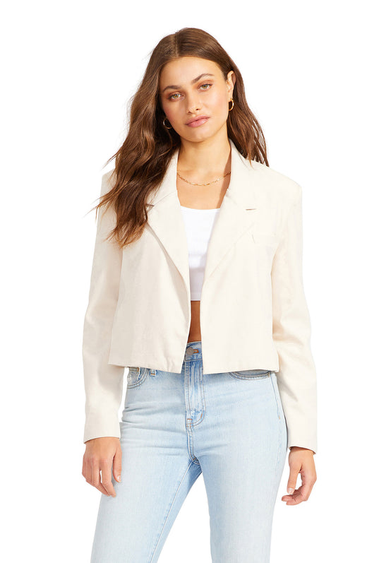 cotton twill cropped blazer with an open front silhouette.