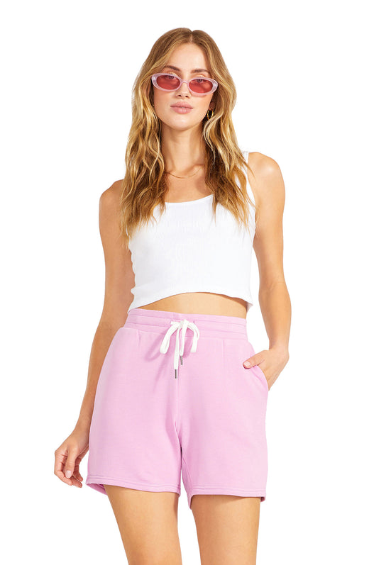 knit shorts in bermuda length with high-rise drawstring waist and pockets.