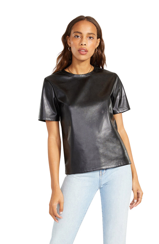 vegan leather t-shirt with a cool, boxy silhouette.