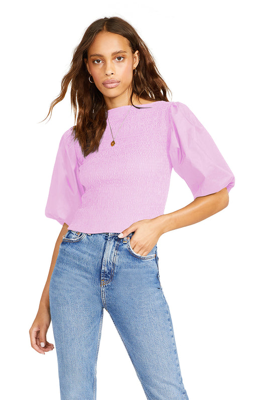 lilac  crisp cotton poplin blouse with voluminous puff sleeves and a smocked bodice.