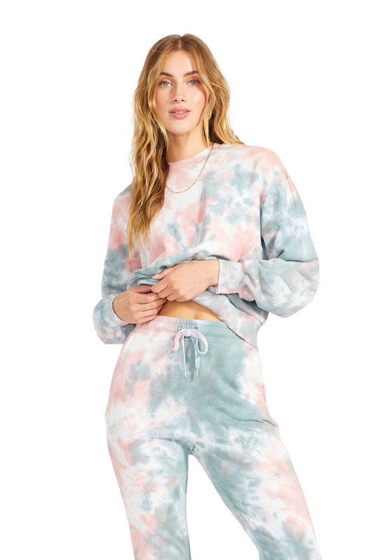 pink and blue pastel tie dyed crew neck pullover with long sleeves.
