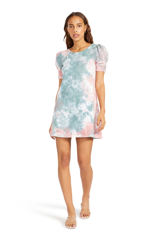 pastel tie dye printed french terry knit mini dress with short puff sleeves.