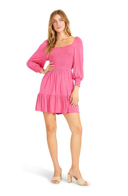 pink  smocked knit number with balloon sleeves. Can be worn on or off the shoulder.