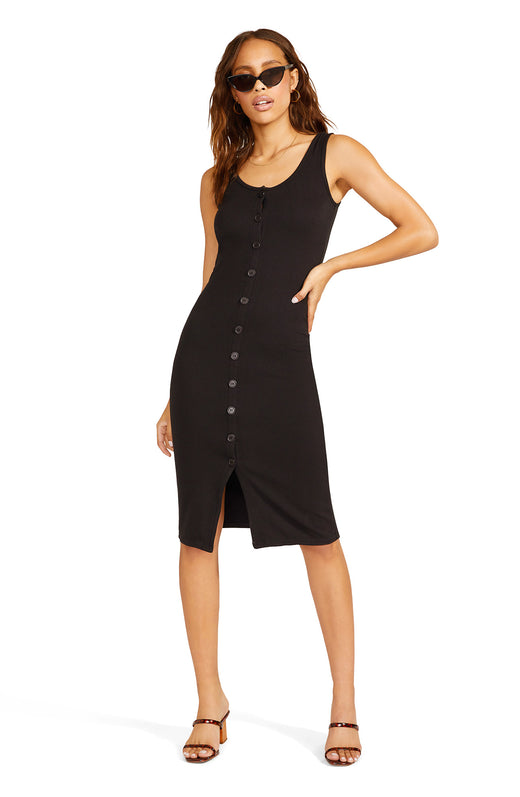 black rib knit tank dress with a button front placket and chic, midi-length silhouette.