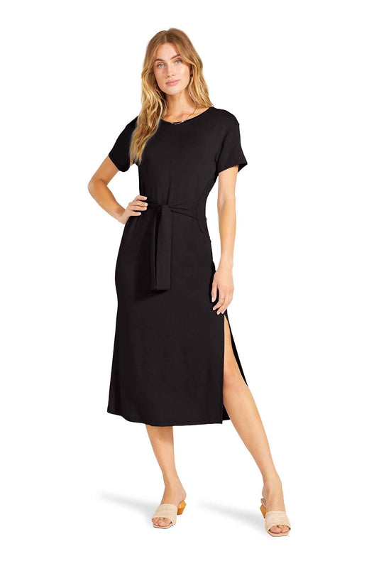 The Before Midnight is an easy midi length T-shirt dress with side slits and a flattering tie front belt detail.