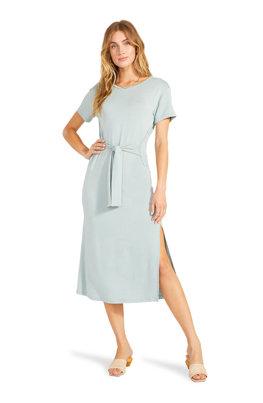 gray midi length T-shirt dress with side slits and a flattering tie front belt detail.