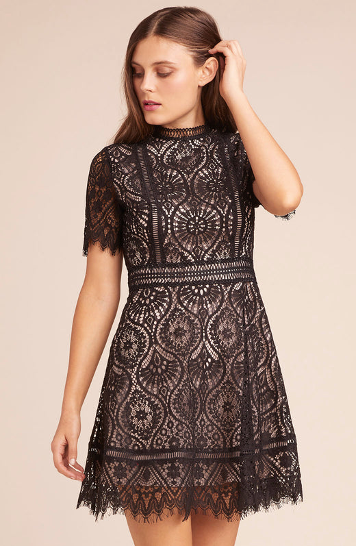 On The List Scalloped Lace Dress