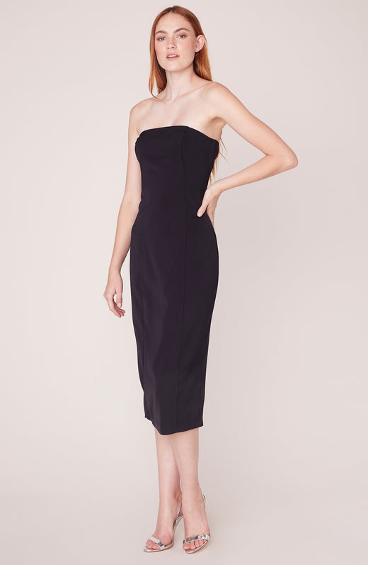 Model wearing strapless midi dress