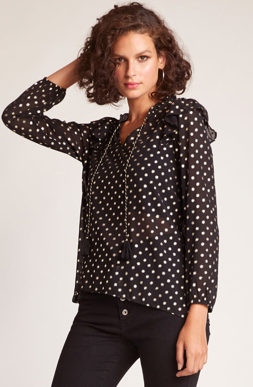 Night Is Young Metallic Dot Top