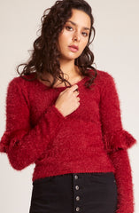 Warm Fuzzy Feelings Ruffle Sweater