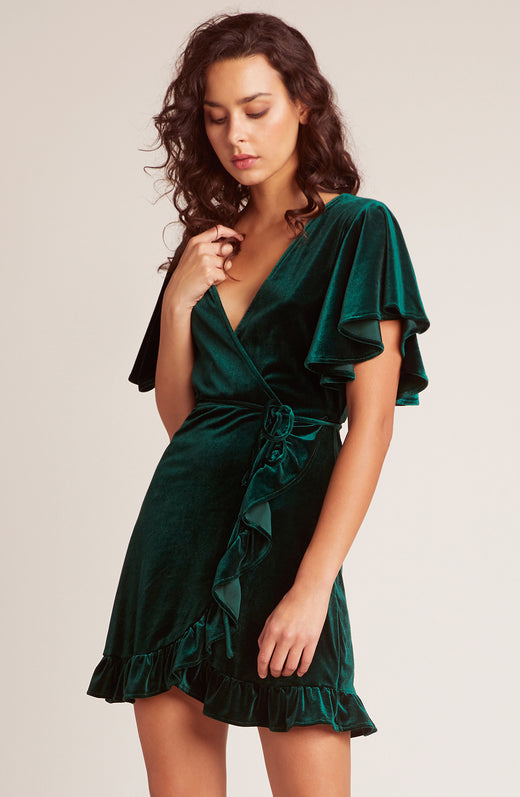 West Village Velvet Wrap Dress