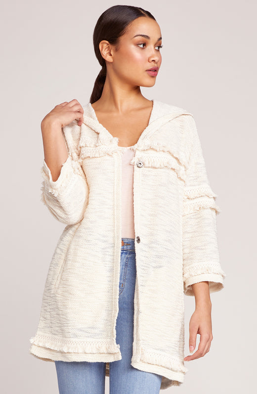On The Fringe Hooded Fringe Jacket