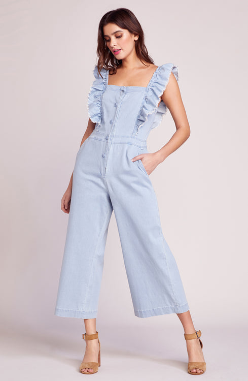9c5958bec793 Yes Way Chambray Ruffle Jumpsuit