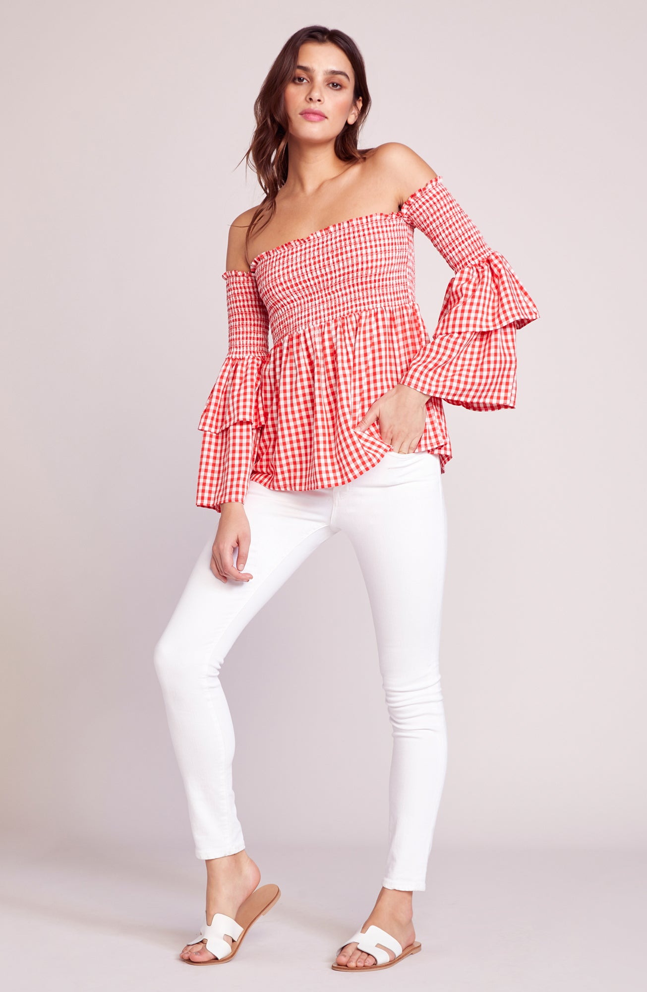 9d5bc3bb4399dd JACK By BB DAKOTA. Smock And Roll Gingham Blouse