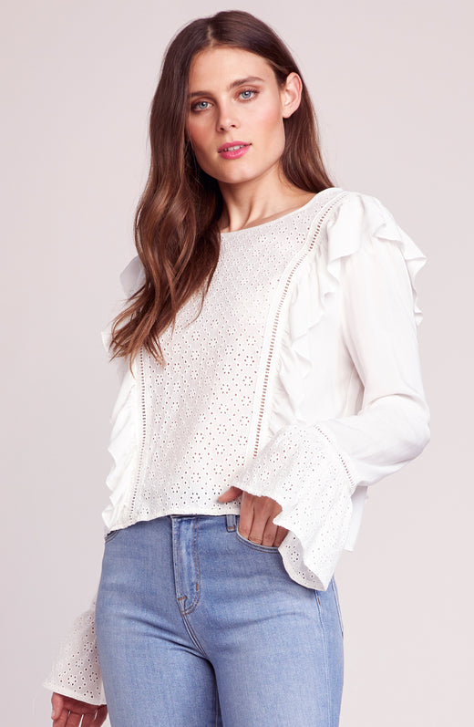 Eyelet It Happen Ruffle Blouse