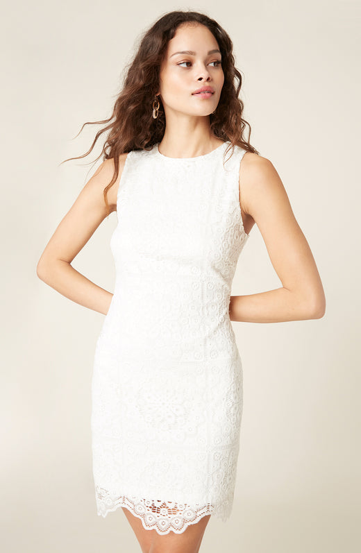 Model wearing lace sleeveless dress