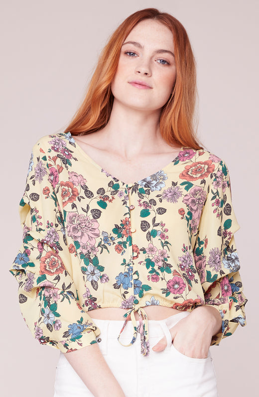 Paper Flowers V Neck Printed Blouse