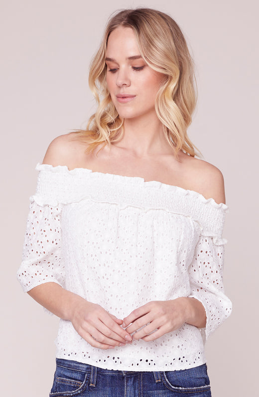 Eyelet You Know Off the Shoulder Blouse