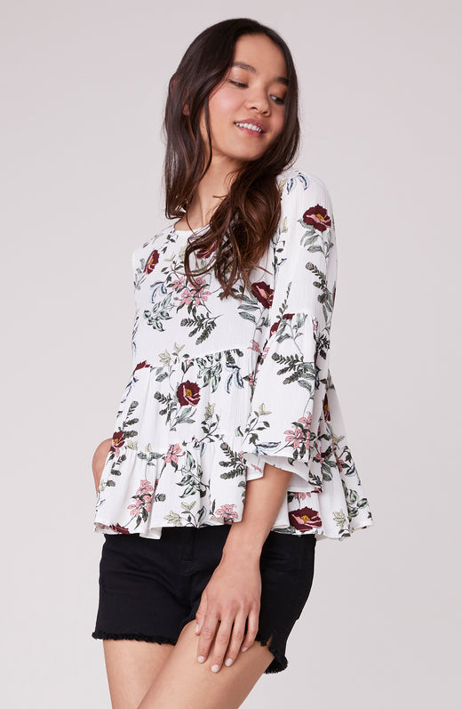 Flowers in Her Hair Back Tie Blouse