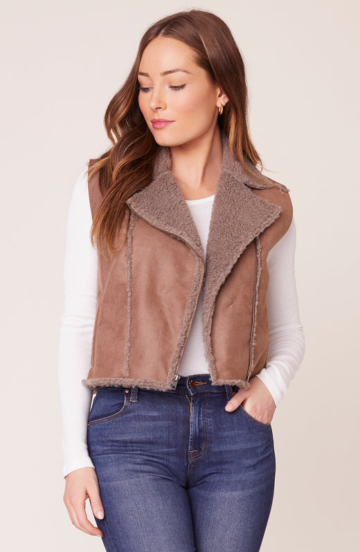 Back In Time Faux Suede and Shearling Vest