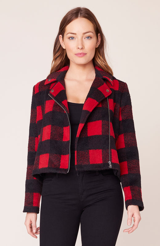 Model Wearing Buffalo Plaid moto jacket