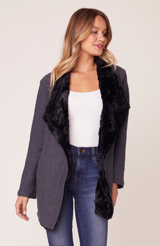 Model wearing grey faux fur lined jacket