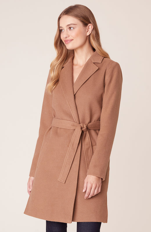 Model wearing camel trench coat