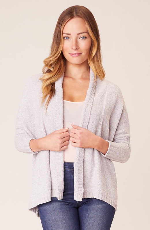 Front view of model wearing cardigan