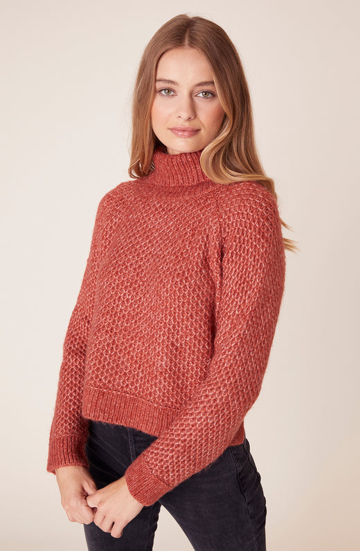 Front view of model wearing turtleneck sweater