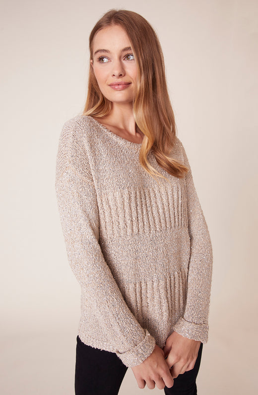 Front view of model wearing sequined sweater