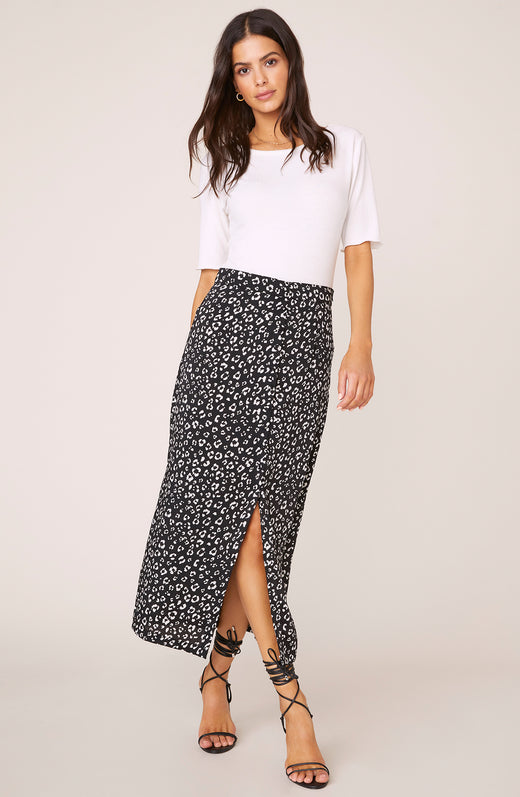 Rare Breed Leopard Print Midi Skirt